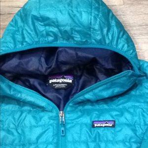 women patagonia nano puff jacket L blue hooded new